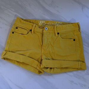 Madewell yellow cuffed jean shorts